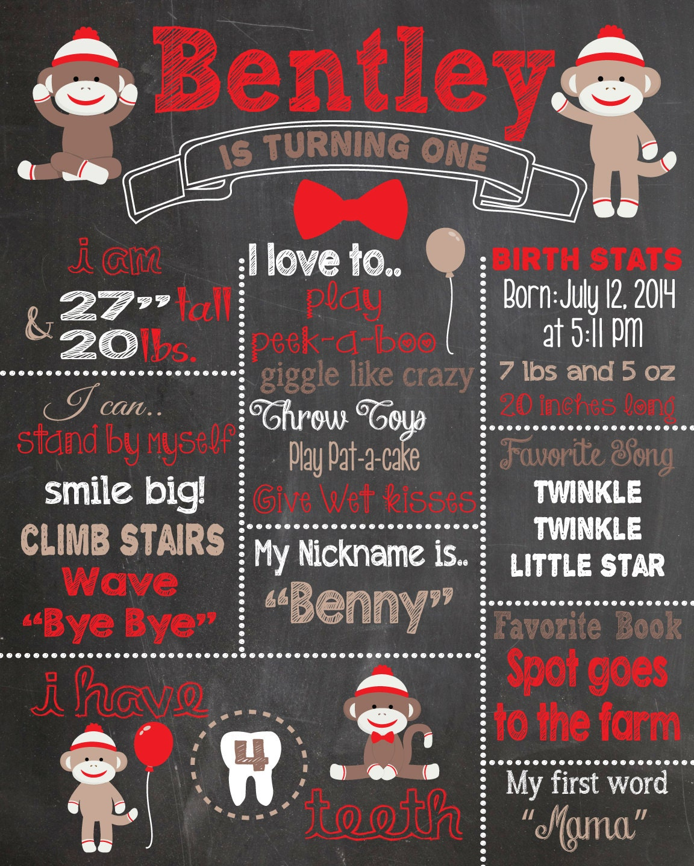 First birthday chalkboard printable poster sock monkey theme for First birthday chalkboard printable