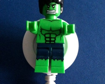 Hulk™ Avengers© Comic ~ ID Badge Holder ~ Customized Brick Minifigure ~ Slide Belt Clip ~ Alligator Clip ~ Gift for Nurses Doctors Teachers