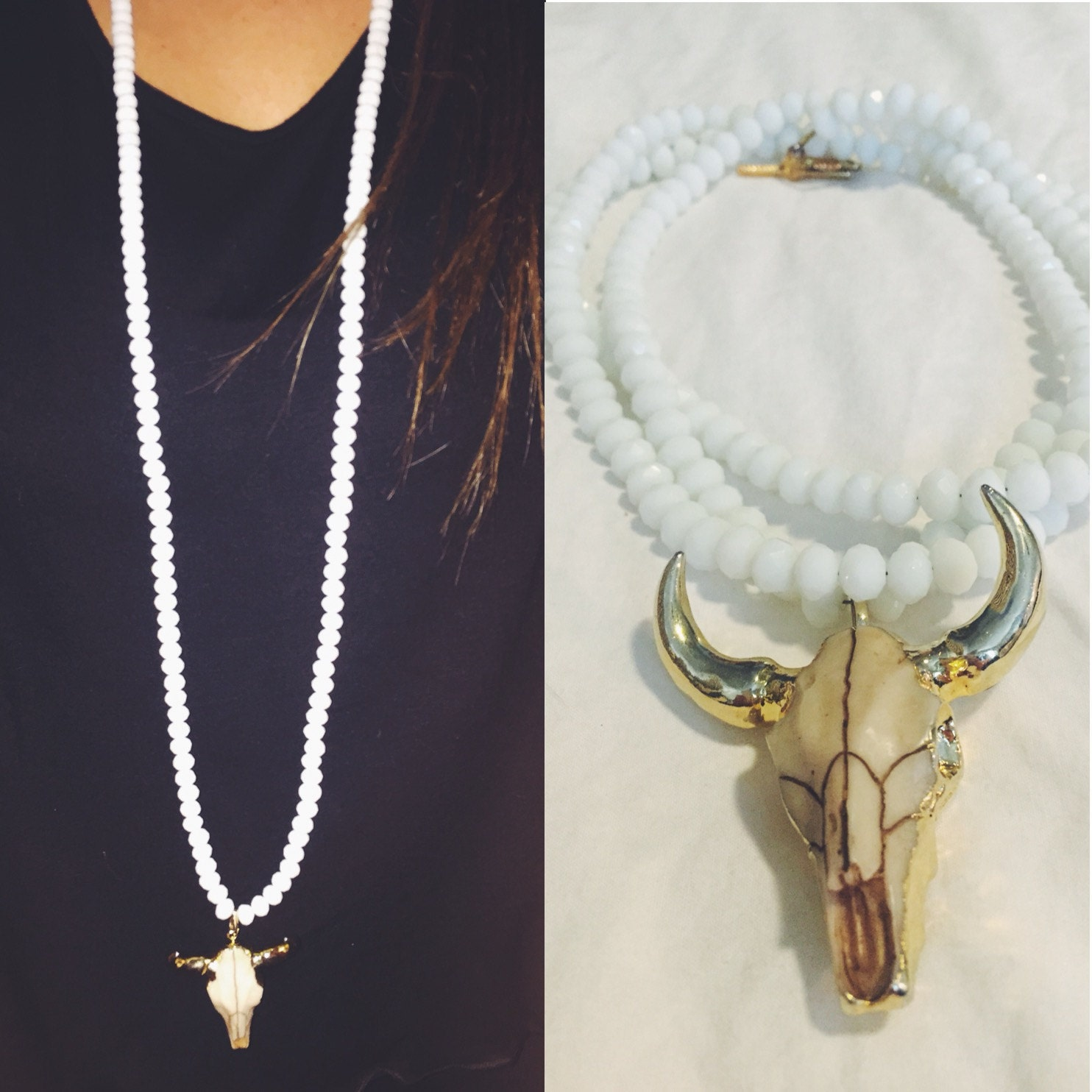 white gold dipped cow skull necklace