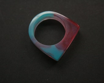 Modern ring in size US 9 handmade from a mixture of pink and teal blue resin. Made in Australia