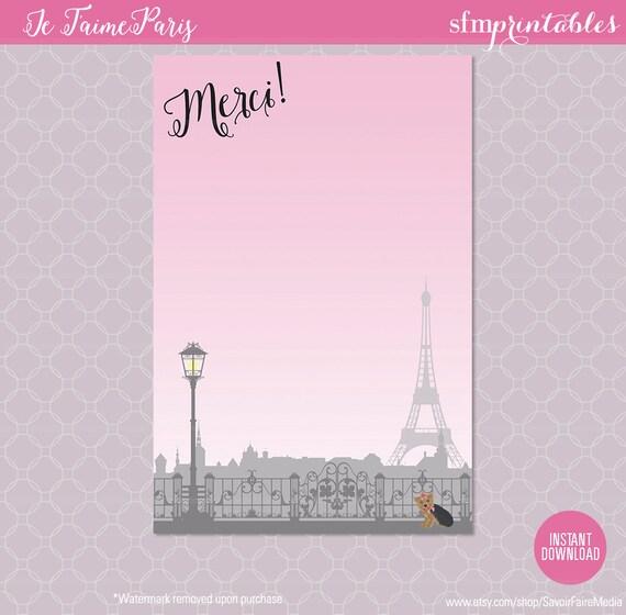 Paris themed party thank you card birthday parisian themed stationery girl party theme - Salon des seniors paris invitation ...