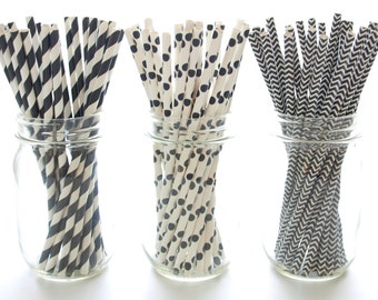 Black Straws, Vintage Paper Straws, Party Drinking Straws, Old Fashioned Striped Straws, 75 Pack - Black Stripe, Chevron & Polka Dot Straws