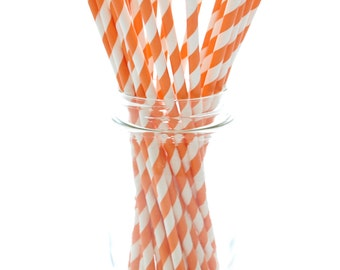 Orange Straws, Paper Drinking Straws, Pumpkin Straws, Halloween Straws, 25 Pack - Orange Striped Straws
