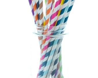 Striped Paper Straws, Long Straws, Bulk Drinking Straws, Rainbow Paper Straws, 25 Pack - Assorted Color Stripe Straws