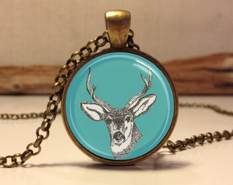 Deer necklace. hipster forest animal necklace. Deer art pendant jewelry. Stag jewelry. woodland jewelry (deer #2)