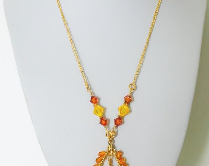 Yellow Swarovski necklace/Yellow gold necklace/Autumn necklace, yellow necklace, Crystal necklace, yellow jewelry/orange and yellow necklace