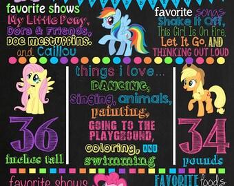 My Little Pony Birthday Chalkboard Poster DIGITAL FILE