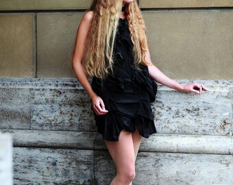 Black Cotton Mini Bustle Mourning Dress xs, s, m, l, xl  (Victorian Gothic Visual Kei)