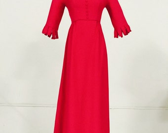 Vintage 1950's, 1960's Ankle length, 3 Quarter Length Sleeves Lined Dress