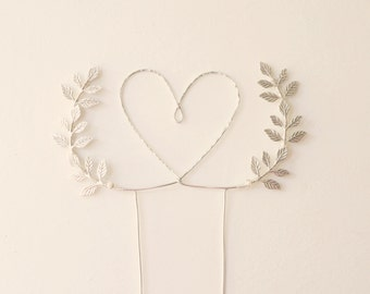 Silver heart wedding cake topper, Heart and leaves cake topper, Woodland cake topper, Rustic chic wedding, Woodland, cake topper