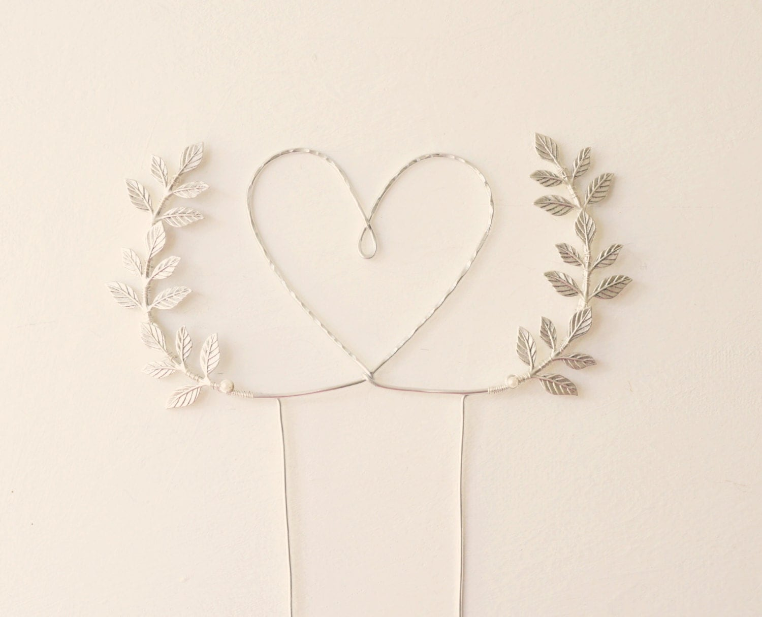 Silver heart wedding cake topper Heart and leaves cake