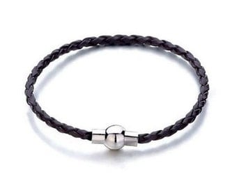 Charm Bracelet, Rope Bracelet, European Bracelet, Womens Bracelet, Brown Bracelet, Large Hole Bead Bracelet