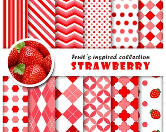 Strawberry 12 digital papers set