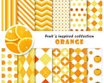 Orange 12 digital papers set