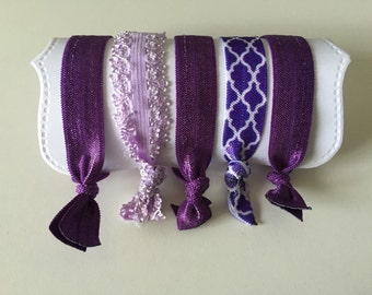Set of 5 Hair Ties, for All Ages, elastic knotted hair ties, wont damage hair, crease, or slip! Purple love