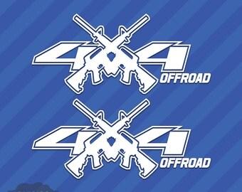 4x4 Offroad AR-15 Gun (Set of 2) Vinyl Decal Sticker Off Road AR15 Jeep Truck