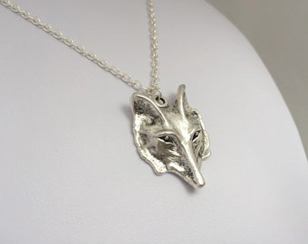 Silver Wolf Necklace. Wild Forest, Nature inspired. Jewelry by FairyOakWoodLand