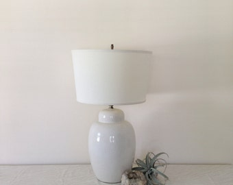 Vintage Creme Speckled Chubby Ceramic Lamp
