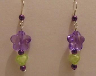 Green & Purple Floral Tone Earrings
