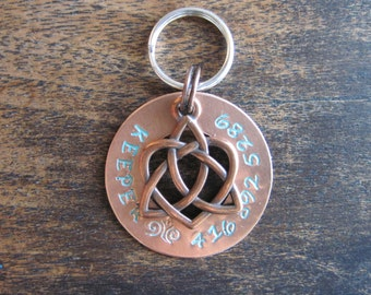 Pet ID Tag - Dog Tag - Cat Tag - Bridle Tag - Hand Stamped Copper Ring with a Celtic Heart Charm