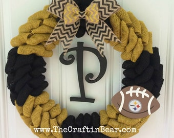 Pittsburgh Steelers burlap wreath w/ chevron bow, wooden football, your initial- Pittsburgh steelers wreath - Steelers - pittsburgh steelers