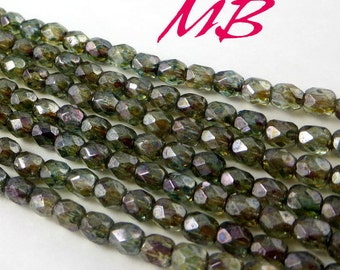 6mm Transparent Green Luster Czech Glass Beads, Faceted Fire Polished