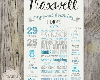 First Birthday Chalkboard sign Printable - white 1st birthday Chalk board poster -  paper background - DIGITAL FILE!