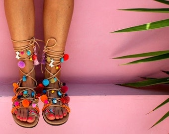 "Greek Sandals, Tie Up Gladiator Sandals, Pom Pom Sandals, Bohemian, Swarovski Crystals, ""Hawaii"""