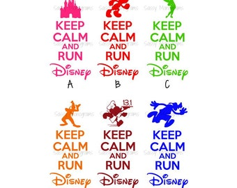 Keep Calm And Run Disney Personalized Vinyl Decal