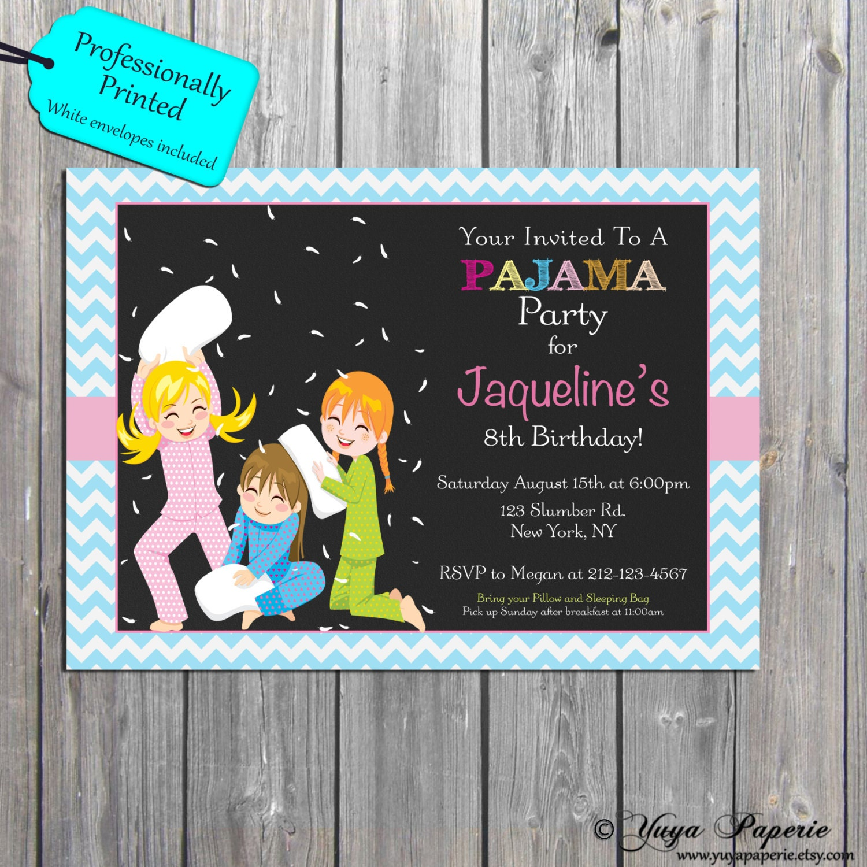 Pajama Party Invitation Slumber birthday party Invitations – Printed Party Invitations