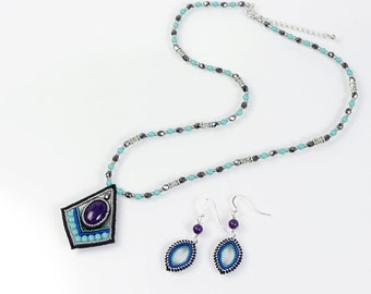 Black purple necklace and earring set, art deco pendant necklace, marquise earrings, tribal pendant, 390