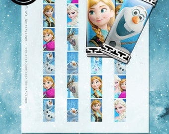 FROZEN Disney Digital Collage Sheet, rectangle pendants 1x2; 1.5x.75inch & 15mmx30mm; domino,magnets,necklaces,jewlery supplies,printables