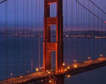 Golden Gate Bridge, San Francisco, California, Suspension Bridge, Red, Black, White, Architecture - Travel Photography, Print, Wall Art