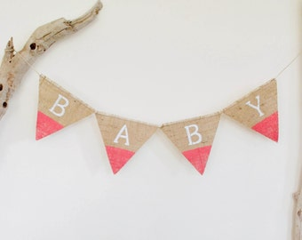 Baby Shower Bunting Banner Coral Pink Dipped Burlap Hessian Tribal Native Chevron Tassel Painted Handmade in Australia JDog & T