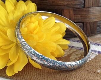 Blue Green Bangle Bracelet, Embossed Floral Silver Bangle, Two Tone Embossed Bangle, Teal and Silver Bangle