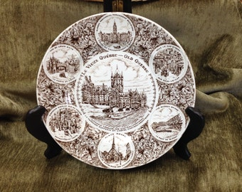Wood & Sons, English Ironstone, Made in England, Le Vieux Quebec, Old Quebec, Brown and White Collector's Plate, Souvenir Plate