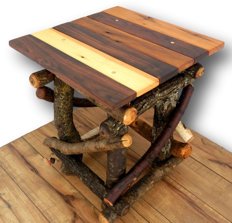 Rustic Wood Side Table ~ Rustic wood side table reclaimed