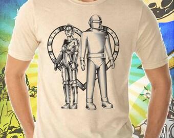 Metropolis Maria and Gort Robots Men's Cream T-Shirt