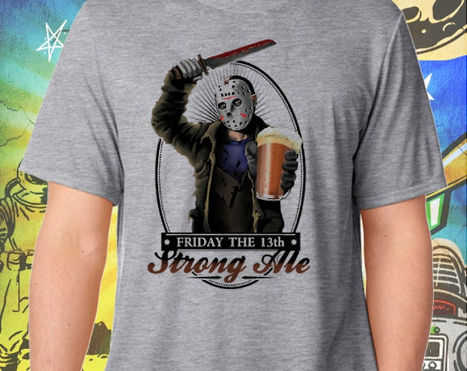 Jason's Strong Ale Men's Gray T-Shirt Friday the 13th Beer Tshirt