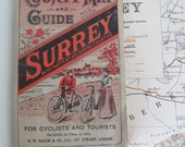 Fabulously nostalgic original antique map~Bacons Guide to Surrey~Gorgeous cover~Cloth backed~For cyclists & tourists~Showing Danger Hills!