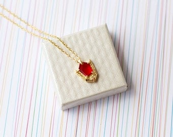 Goron Ruby 24k gold necklace spiritual stones inspired in The legend of Zelda series