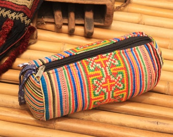 Tribal Fabric Pencil case Make Up Bag Flower Hmong