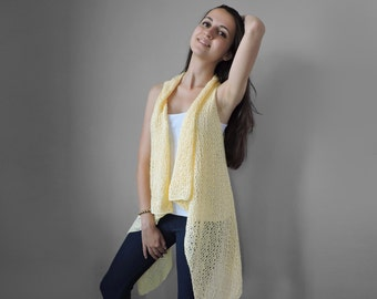 Pure cotton vest Knitted light yellow long vest Spring summer vest Lace vest Plus size overcoat Extra large S - XXL