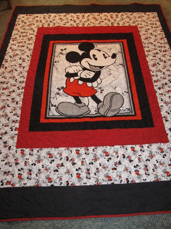 Mickey Mouse Quilt 68 X 87 Will Fit A Twin Size