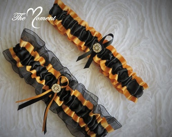 Black and Gold Garter Set, Gold and Black Garter Set, Gold Garter, Ribbon Garter, Prom Garter, Bridal Garter, Wedding Garter