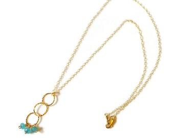 Gold Link Necklace, Aqua Jade Necklace, Gold Chain Necklace, Circle Link Necklace