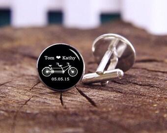 Tandem Bike Cufflinks, Double Seater Bike Cuff Links, Custom Name & Date, Personalized Cuff Links, Custom Wedding Cufflinks, Groom Cufflinks