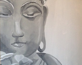 N A M A S T E IV- Spirit Series-Monochromatic Made to Order Acrylic Buddha on a Gray Background