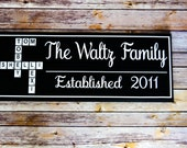 Scrabble Tile Last Name Sign - Personalized Family Name Wood Signs - Established Sign - Scrabble wall art - Scrabble Tile Decor
