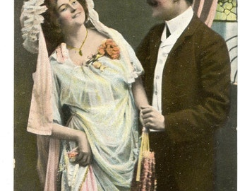 1900s Romatic Postcard Antique Vintage Victorian Edwardian Couple Lovers French